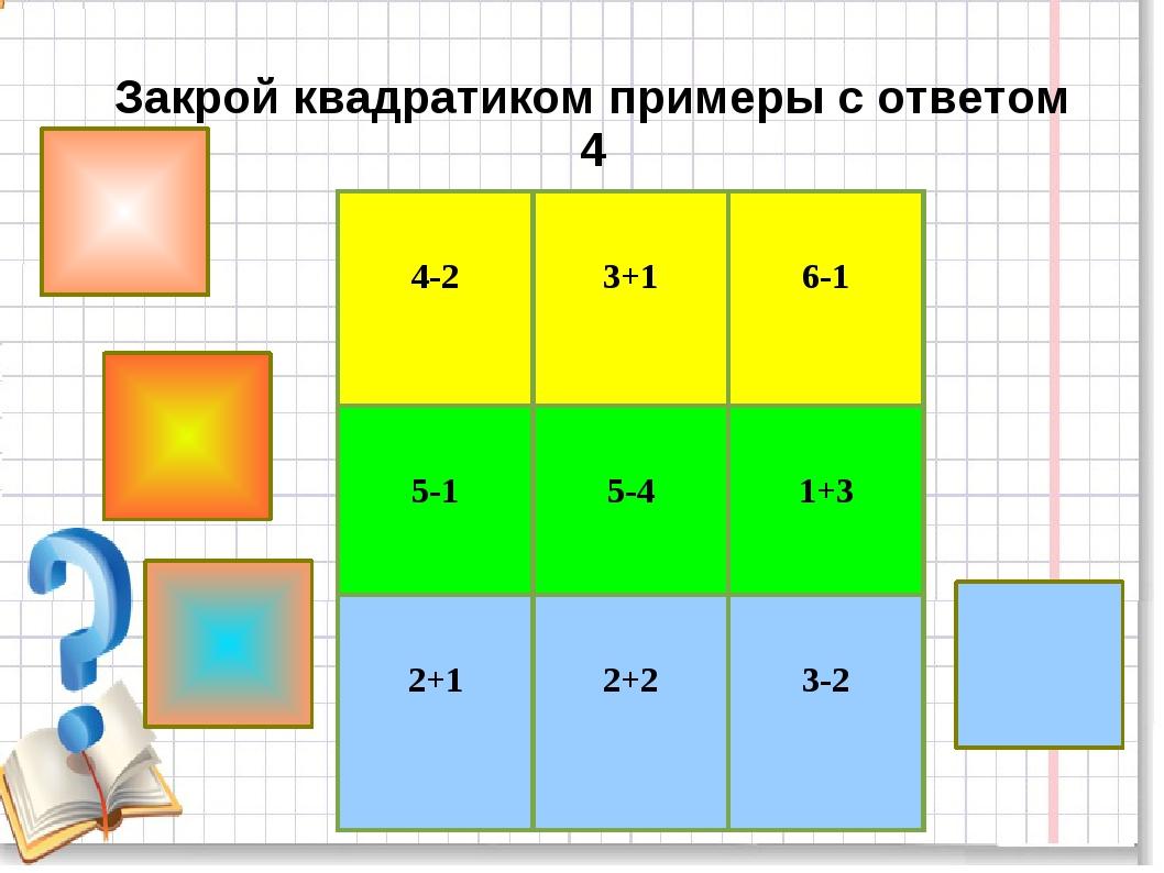 Закрой квадратиком примеры с ответом 4 4-2 3+1 6-1 5-1 5-4 1+3 2+1 2+2...