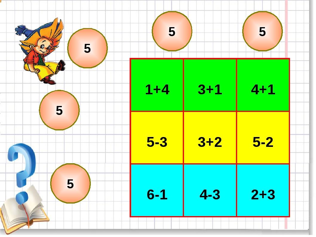 5 5 5 5 5 5 1+4  3+1 4+1 5-3 3+2 5-2 6-1 4-3 2+3