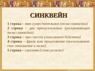 СИНКВЕЙН 1 строка – имя существительное (тема синквейна) 2 строка – два прила