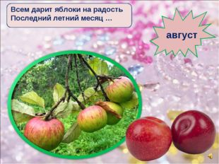 Всем дарит яблоки на радость Последний летний месяц … август