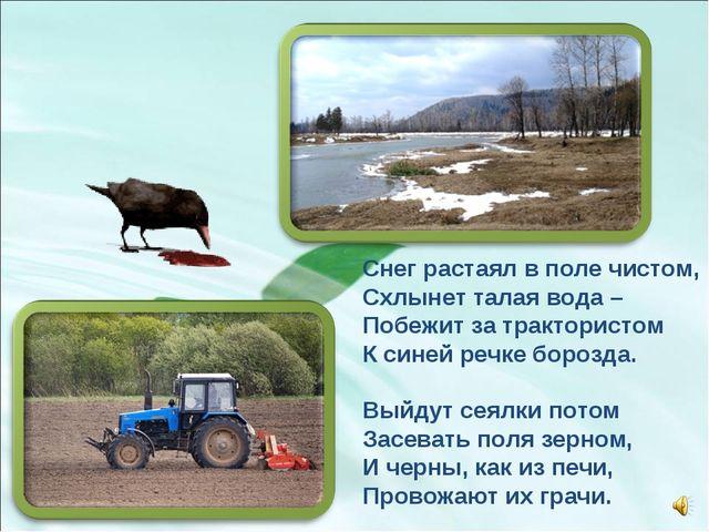 Снег растаял в поле чистом, Схлынет талая вода – Побежит за трактористом К си...