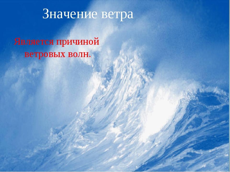 Ветровые волны. Значение ветра Является причиной ветровых волн.