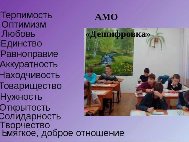 Терпимость Оптимизм Любовь Единство Равноправие Аккуратность Находчивость Тов...