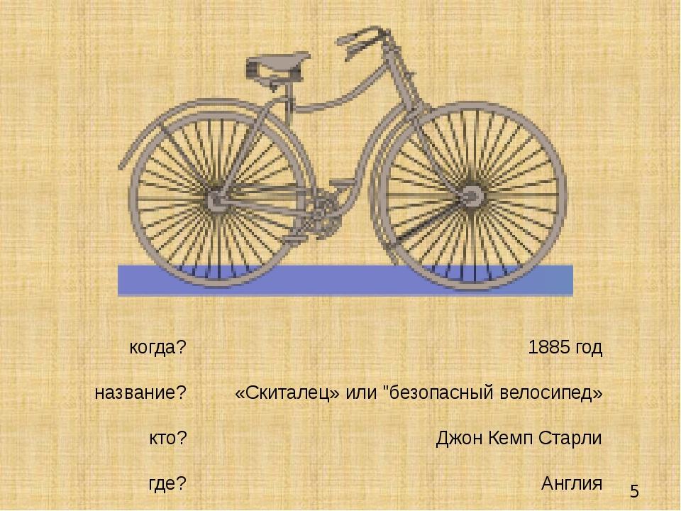 """1885 год «Скиталец» или """"безопасный велосипед» Джон Кемп Старли Англия когда..."""
