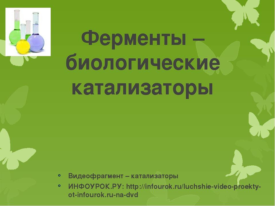 Ферменты – биологические катализаторы Видеофрагмент – катализаторы ИНФОУРОК.Р...