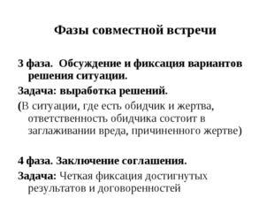 Фазы совместной встречи 3 фаза. Обсуждение и фиксация вариантов решения ситуа