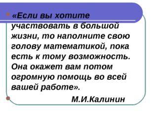 «Если вы хотите участвовать в большой жизни, то наполните свою голову математ
