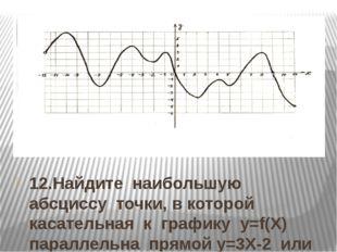 12.Найдите наибольшую абсциссу точки, в которой касательная к графику y=f(Х)