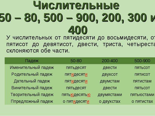 Числительные 50 – 80, 500 – 900, 200, 300 и 400 У числительных от пятидесяти...