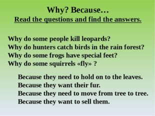 Why? Because… Read the questions and find the answers. Why do some people kil