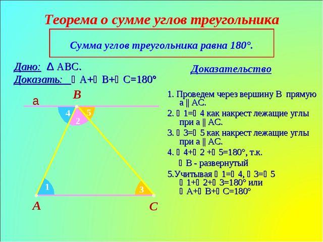 Теорема о сумме углов треугольника Доказательство A B C Сумма углов треугольн...