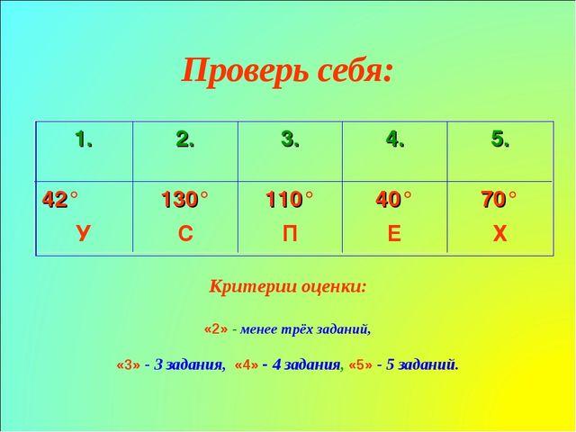 Проверь себя: Критерии оценки: «2» - менее трёх заданий, «3» - 3 задания, «4»...