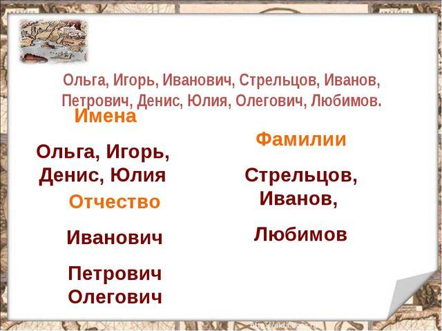 Ольга, Игорь, Иванович, Стрельцов, Иванов, Петрович, Денис, Юлия, Олегович,...