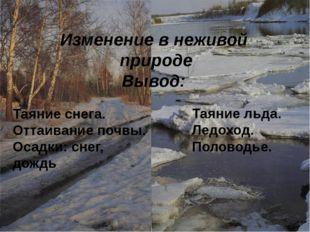 Таяние снега. Оттаивание почвы. Осадки: снег, дождь Таяние льда. Ледоход. По