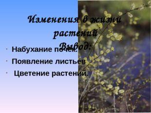 Изменения в жизни растений Вывод: Набухание почек. Появление листьев Цветение