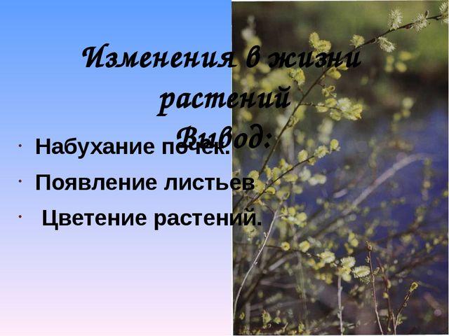 Изменения в жизни растений Вывод: Набухание почек. Появление листьев Цветение...