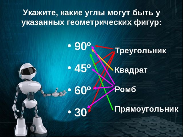 Укажите, какие углы могут быть у указанных геометрических фигур: 90º 45º 60º...