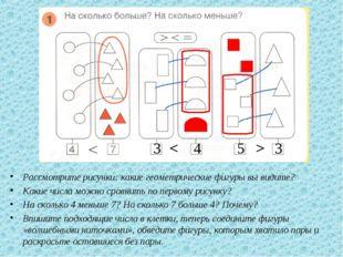 Рассмотрите рисунки: какие геометрические фигуры вы видите? Какие числа можн