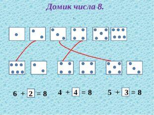 Домик числа 8. . 6 + = 8 4 + = 8 5 + = 8 2 3 4