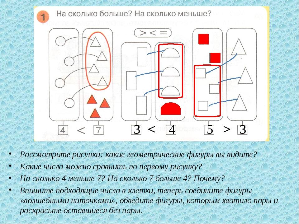 Рассмотрите рисунки: какие геометрические фигуры вы видите? Какие числа можн...