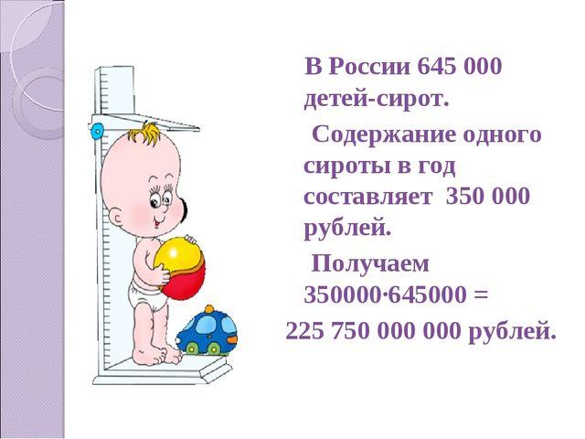 В России 645 000 детей-сирот. Содержание одного сироты в год составляет 350...