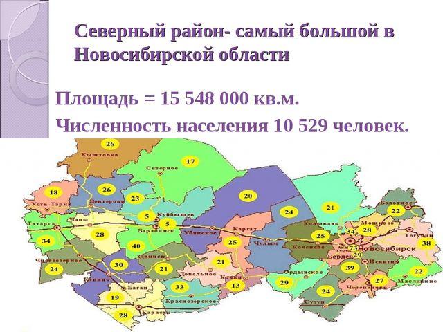 Северный район- самый большой в Новосибирской области Площадь = 15 548 000 кв...