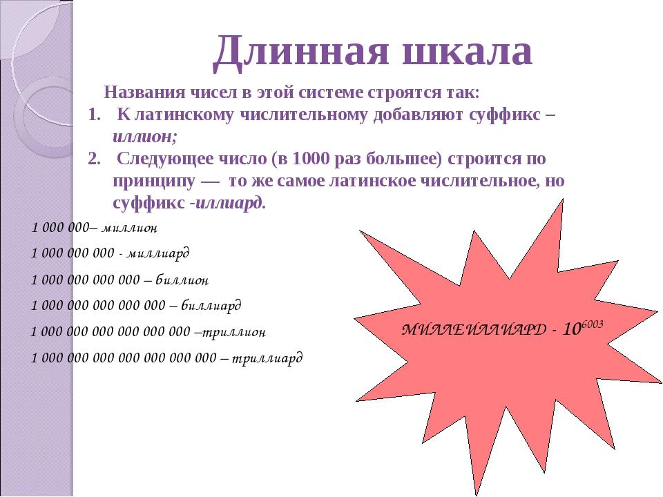 Длинная шкала Названия чисел в этой системе строятся так: К латинскому числи...
