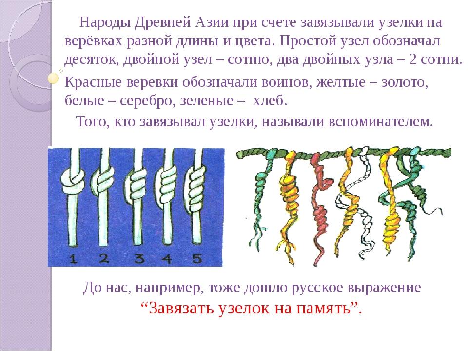 Народы Древней Азии при счете завязывали узелки на верёвках разной длины и ц...