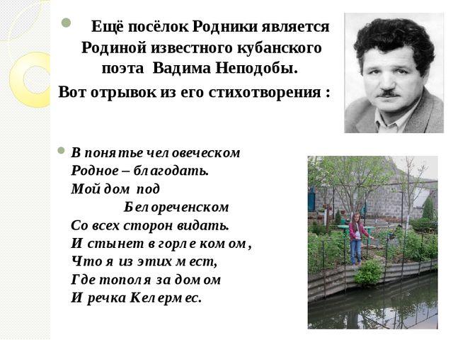 Ещё посёлок Родники является Родиной известного кубанского поэта Вадима Непо...