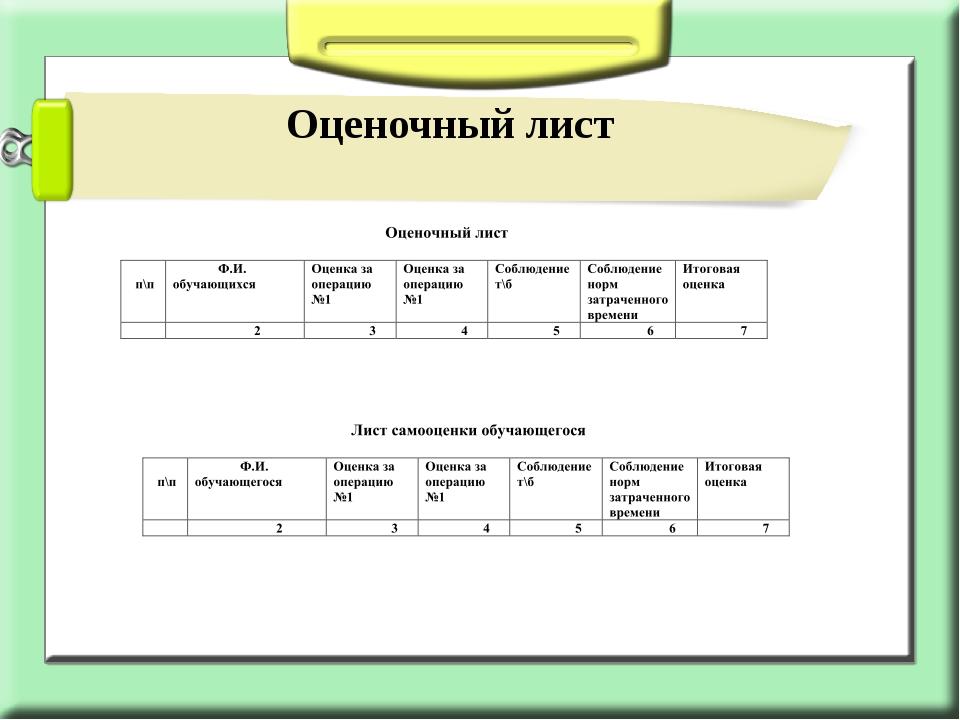 Оценочный лист