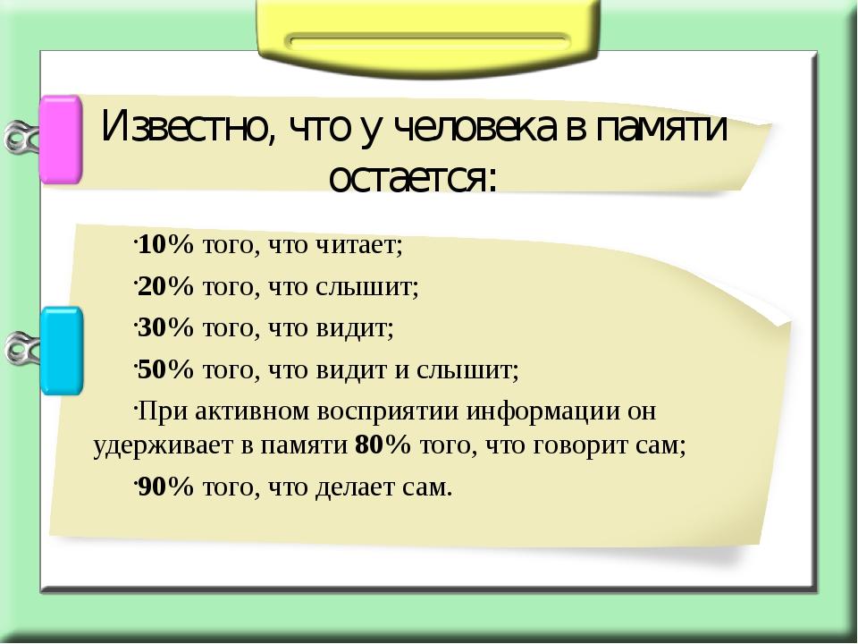 10% того, что читает; 20% того, что слышит; 30% того, что видит; 50% того, чт...