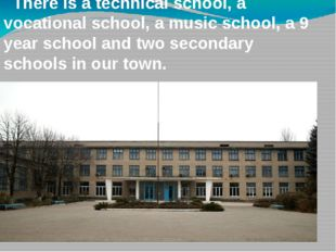 There is a technical school, a vocational school, a music school, a 9 year s
