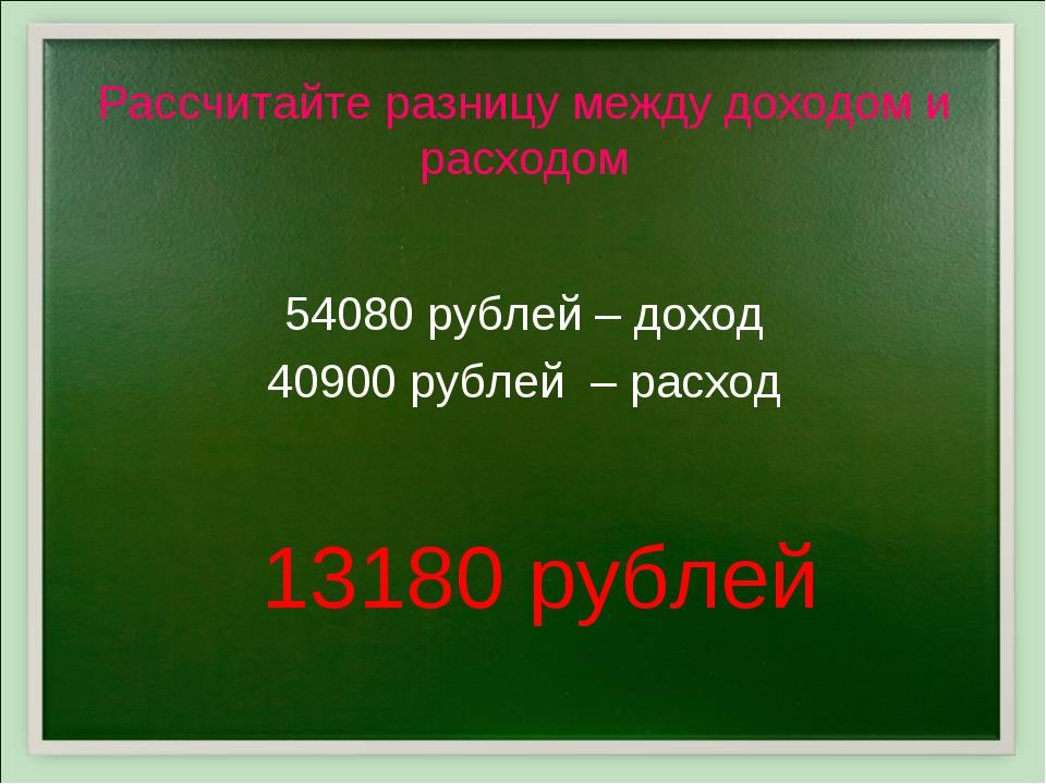 Рассчитайте разницу между доходом и расходом 54080 рублей – доход 40900 рубле...