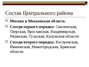 Состав Центрального района Москва и Московская область Соседи первого порядка