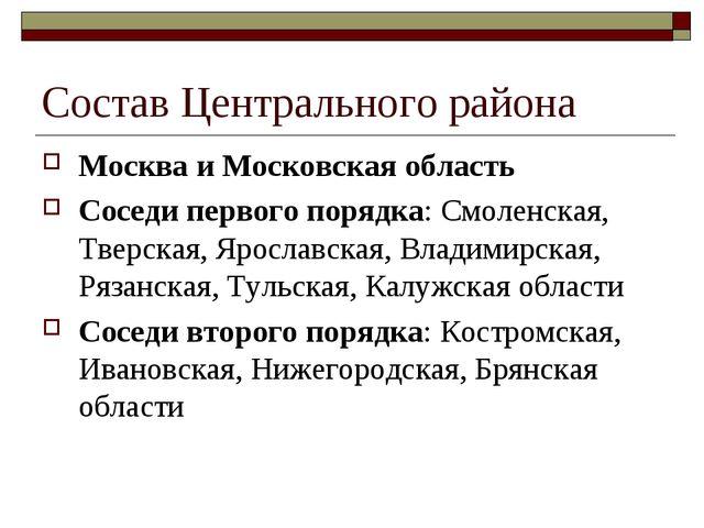 Состав Центрального района Москва и Московская область Соседи первого порядка...