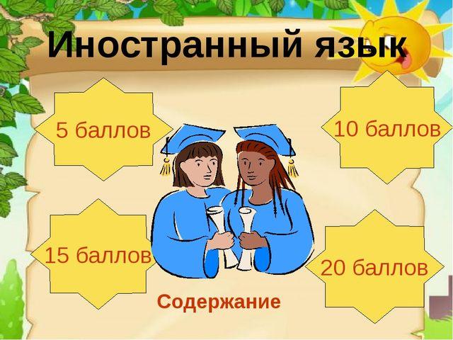Иностранный язык 5 баллов 15 баллов 20 баллов 10 баллов Содержание
