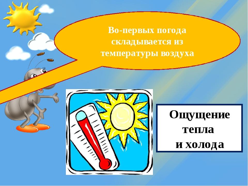 Во-первых погода складывается из температуры воздуха Ощущение тепла и холода
