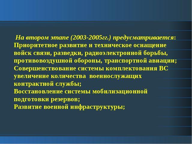 На втором этапе (2003-2005гг.) предусматривается: Приоритетное развитие и те...