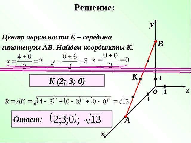 Решение: х у z 1 1 1 О А В К Центр окружности К – середина гипотенузы АВ. Най...
