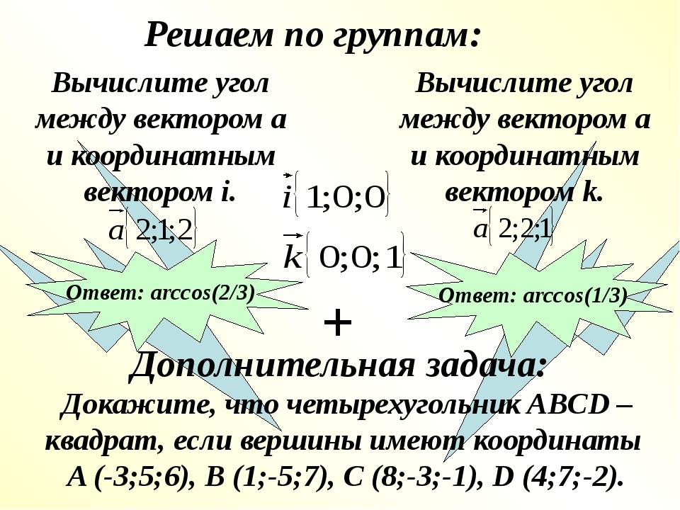 Решаем по группам: Дополнительная задача: Вычислите угол между вектором а и...