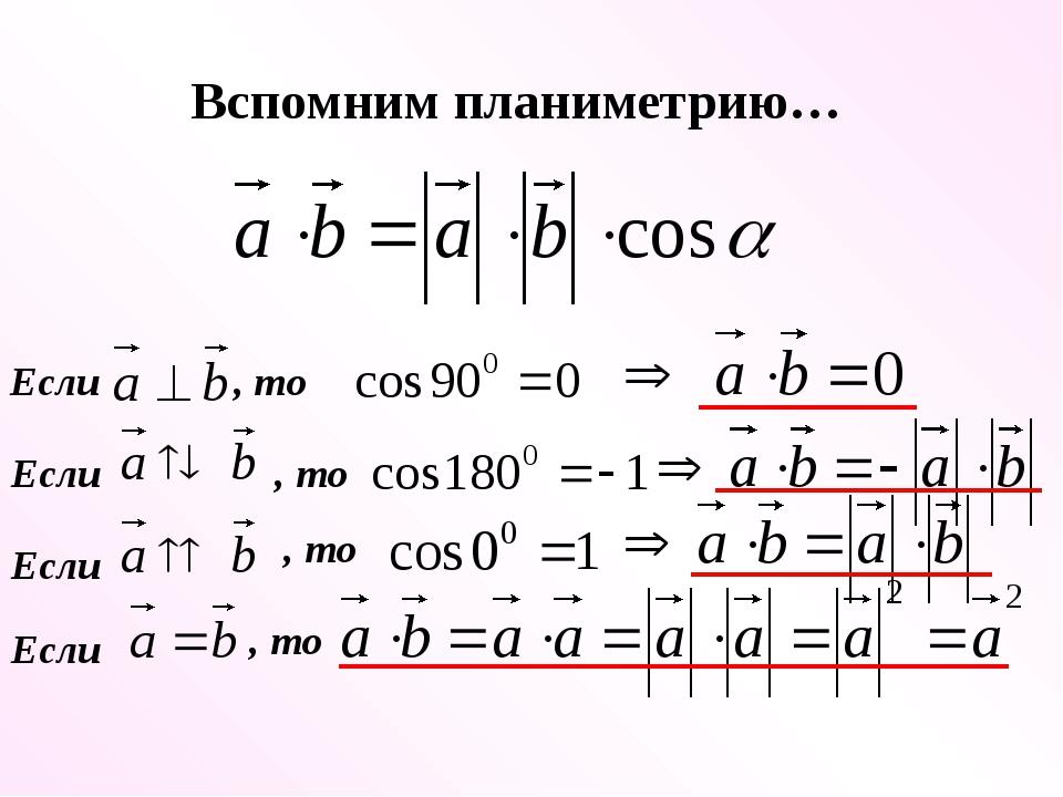Если , то Если , то Если , то Если , то Вспомним планиметрию…
