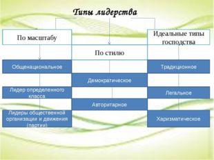 Типы лидерства По масштабу Общенациональное Лидер определенного класса Лидер