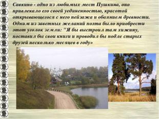 Савкино - одно из любимых мест Пушкина, оно привлекало его своей уединенность