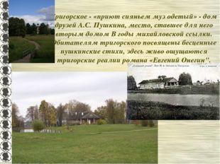 Тригорское - «приют сияньем муз одетый» - дом друзей А.С. Пушкина, место, ста