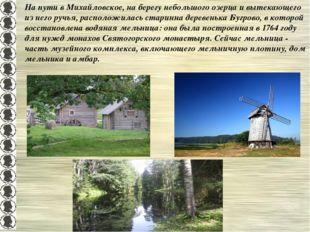 На пути в Михайловское, на берегу небольшого озерца и вытекающего из него руч