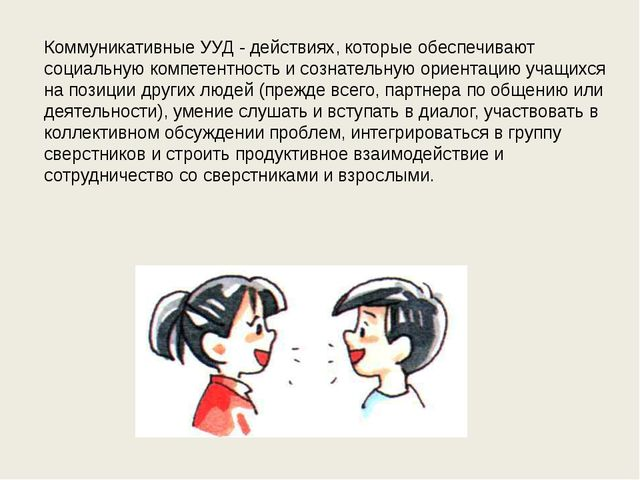Коммуникативные УУД - действиях, которые обеспечивают социальную компетентнос...