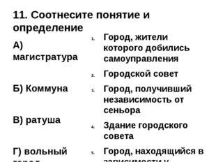 11. Соотнесите понятие и определение А) магистратура Б) Коммуна В) ратуша Г)