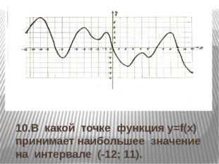 10.В какой точке функция y=f(x) принимает наибольшее значение на интервале (-