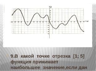 9.В какой точке отрезка [1; 5] функция принимает наибольшее значение,если дан