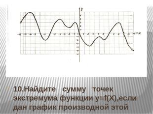 10.Найдите сумму точек экстремума функции y=f(Х),если дан график производной